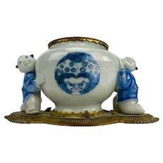 Antique 18th century Japanese HIrado Blue & White Porcelain Vase with Karako Boys Mounted in 19th century Gilt Bronze by L' Escalier de Cristal Paris