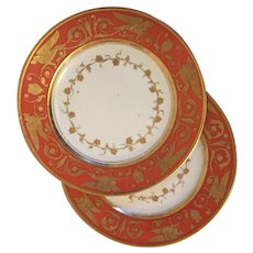 Pair Antique Early 19th century French Empire Dagoty Paris Porcelain Plates Decorated with Gilt Griffin Border on Bright Red Ground 1805 - 1810