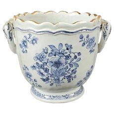 Antique 18th century Chinese Export Porcelain Blue & White Wine Cooler Cachepot Jardiniere
