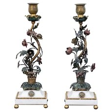 Pair Antique 19th century French Gilt & Enamel Bronze Candlesticks on White Marble Base in the Directoire Taste with Basket of Flowers