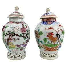Pair Antique 18th century Chinese Export Famille Rose Porcelain Vase Shaped Tea Caddies Decorated with Rooster and Deer in Landscape