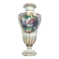 Fine Antique Early 19th century Paris Porcelain Vase or Urn Decorated with Courting Turkeys and Chickens 1800