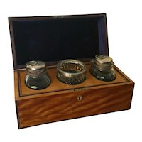 Antique 19th century English Regency Satinwood Tea Caddy Box with Silver Mounted Cut Irish Crystal Mixing Bowl and Tea Jars