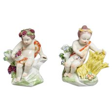Pair Antique 18th century Chelsea Porcelain Cherub Figures Emblematic of Summer and Autumn 1760