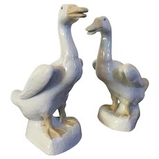 Pair Large Chinese Export Porcelain Bird Models of Ducks in White Blanc de Chine Glaze