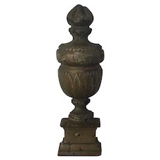 Antique 18th / 19th century French Carved and Paint Decorated Wood Urn or Vase Form Wall Plaque