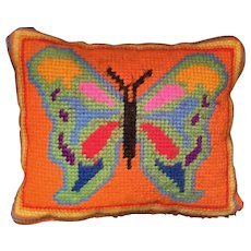 Small Scale Mid-Century Modern Needlepoint Pillow of a Butterfly