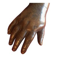 Antique 19th century Grand Tour Bronze Sculpture of a Child's Hand for Desk Ornament or Paperweight