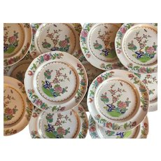 Set 12 Early 19th century English Georgian Spode New Stone China Dinner Plates in the Chinese Famille Rose Taste - Pattern 2147, circa 1815