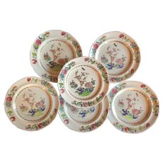Set 6 Early 19th century English Georgian Spode Stone China Bread Plates in the Chinese Famille Rose Taste - Pattern 2147, circa 1820