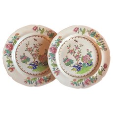 Pair Early 19th century English Georgian Spode New Stone China Dessert or Luncheon Plates in the Chinese Famille Rose Taste - Pattern 2147, circa 1815