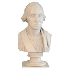 Large Antique 19th century Plaster Portrait Bust of President George Washington in Classical Robes after Jean-Antoine Houdon