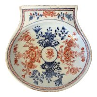 Antique Mid 18th century Chinese Export Porcelain Shell Shaped Bowl Decorated in an Imari Palette