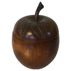 Vintage English Art Deco Mahogany Apple Form Tea Caddy or Box with Leaf Carved Hinged Cover