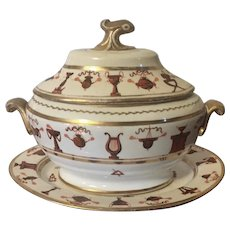 Rare Antique Early 19th century First Period Miles Mason Neoclassical Porcelain Sauce Tureen & Platter 1800 - 1805