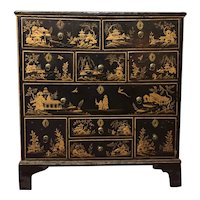 Fine Antique 18th century English George II Black Lacquered Japanned Chest of 10 Drawers