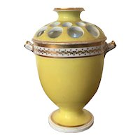 Antique Early 19th century London Decorated Coalport Porcelain Bough Pot Vase or Urn with Yellow Ground 1805