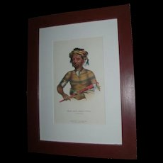 McKenney & Hall Hand Colored Print of Native American Indian Shau-Hau-Napo-Tinia An Ioway Chief 1855