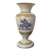 Antique 19th century Bristol Glass Urn Vase Decorated with Cupid Leading Cerberus Painted en Grisaille