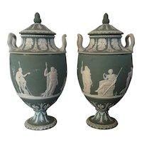 Large Pair Antique 19th century Wedgwood Green Jasperware Neoclassical Vase Urns