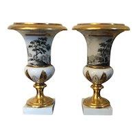 Fine Pair Antique 18th century Paris Porcelain Urns or Vases Decorated en Grisaille with a Forest Landscape