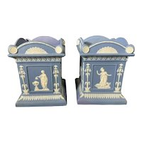 Pair 18th century Neale & Co. Blue & White Jasperware Cachepot Vases circa 1790 in the Wedgwood Manner