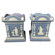 Pair 18th century Neale & Co. Blue & White Jasperware Cachepot Vases circa 1790 in the Wedgwood Manner