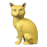 Late Qing Chinese Export Porcelain Figure of a Yellow Cat