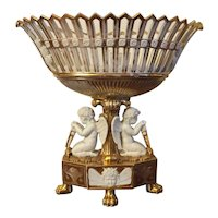 Monumental Antique French Empire Early 19th century Old Paris Porcelain Reticulated Corbeille Centerpiece Basket with Angel Supports in White & Gold