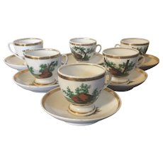 Set 6 Antique Old Paris Porcelain Tea or Coffee Cups and Saucers with Hand Painted Landscape Scenes