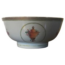 Antique Early 19th century Chinese Export Porcelain Bowl Decorated with Three Reserves of Classical Urns 1800 - 1810