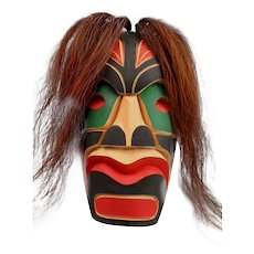 Northwest Coast Squamish Carved & Paint Decorated Cedar Tribal Mask with Horse Hair Mane by Kurtis Antone