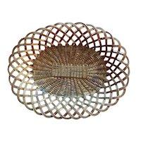 Antique 19th century French Woven Brass Basket Centerpiece