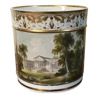 Large Antique Early 19th century Derby Topographical Porcelain Porter's Mug Decorated with a Named View of Stowe House Buckinghamshire