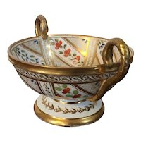 Antique Early 19th century Spode Porcelain Serpent Snake Handled Tazza Urn or Footed Bowl Decorated with Geometric Sprig