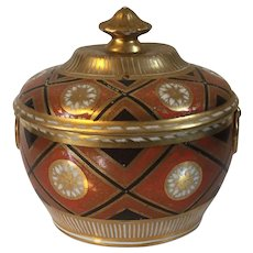 Antique Early 19th century Coalport Porcelain Sucrier Bowl or Sugar Box Decorated in a Geometric Scheme