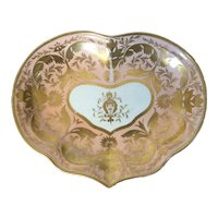 Antique Early 19th century Derby Porcelain Kidney Shape Dish in Bright Apricot Ground Enhanced by Rich Gilding