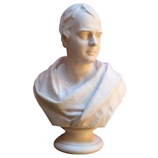 Large Antique 19th century English Parian Library Portrait Bust of Sir Walter Scott (1771 - 1832) in Classical Robes by E. W. Wyon