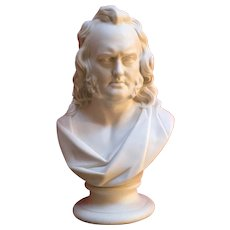 Large Antique 19th century English Parian Library Portrait Bust of Scottish Advocate John Wilson (1785 - 1854) in Classical Robes
