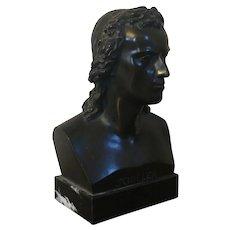 Antique 19th century Bronze Library Portrait Bust of German Philosopher Friedrich Schiller (1759 - 1805) on Marble Plinth