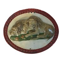Antique Early 19th century English Staffordshire George III Pearlware Prattware Oval Wall Plaque of Two Recumbent Lions circa 1800