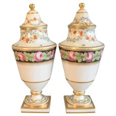 Pair Antique 18th century French Louis XVI Old Paris Porcelain Vase Urns with Covers Decorated with Roses and Cornflower Sprig