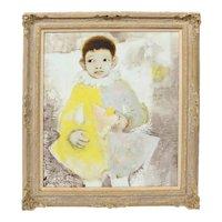 Mid Century Modern Oil Painting on Canvas Paris School Portrait of a Young Boy Acrobat by Pierre Lavarenne