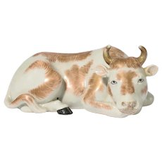 Antique 19th century Chinese Export Porcelain Figure of a Recumbent Ox or Cow