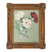 Small Scale Michel Dureuil (French, b. 1929) Still Life Oil Painting of Carnations in a Vase