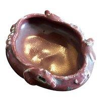Antique 19th century Chinese Monochrome Sang de Boeuf Oxblood Porcelain Quatrefoil Shape Brush Washer with Mice