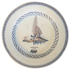 Antique 18th century Delft Tin Glaze Faience Plate Decorated with a House in Landscape in Brown and Blue