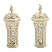 Pair Antique 19th century Leeds Pottery Creamware Reticulated Vases or Urns and Covers