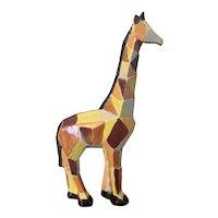 Mid Century Modern Pottery Figure of a Giraffe with Cubist Design