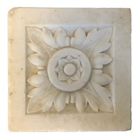 Antique Early 19th century American Federal Classical Architectural Element Carved White Marble Door Cornice